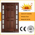 Puerta interior de madera maciza de lujo con diseño de vidrio (SC-W129)