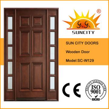 Роскошная Нутряная твердая деревянная дверь со стеклянными дизайна (СК-W129)