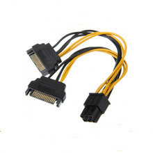 Dual SATA 15-Pin Male to 6pin PCI-E Female Power Cable