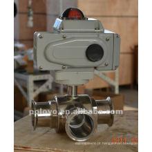 Válvula de esfera sanitária elétrica de aço inoxidável tipo 3way t