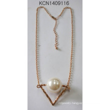 Metal Plated Triangle Necklace with Pearl Pendant