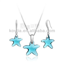 Cute five-pointed star crystal jewelry set for girls