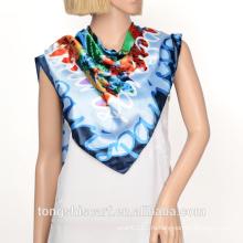 Женская мода новый печать 100 шелк атлас квадратный шарф