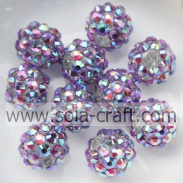 Vendita calda resina solida grosso acrilico Multicolor blu strass palla perline 10 * 12MM