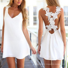 Hot Selling Lace Backless Sleeveless White Chiffon Summer Dress (50149)