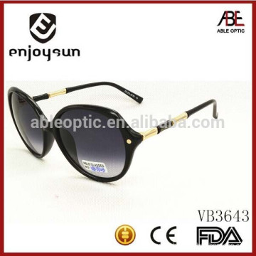 Italy design lady fashion round sunglasses with metal and acetate combined temple