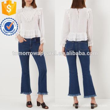 Blusa de encaje blanco Fabricación al por mayor de prendas de vestir de las mujeres de moda (TA4001T)