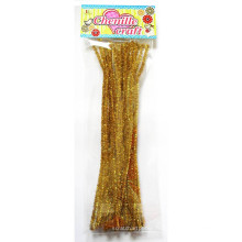 Golden curly Glitter chenille tige Tinsel cure-pipes