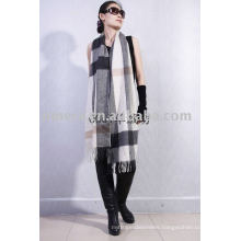 Super Quality 2013 Ladies' checked 100% cashmere scarf
