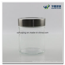 High Quality Empty 350ml Cylinder Glass Food Jar with Shiny Silver Cap