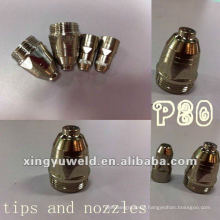 Plasma cutting nozzle and tip