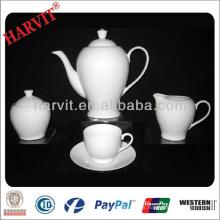 Juego de té de porcelana alemana / Tetera de cerámica de cerámica de estilo nuevo / Taza de taza y platillo de taza de café de té blanco estupendo