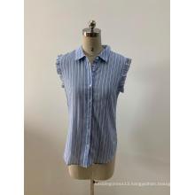 Sleeveless Light Blue Striped Blouses For Women