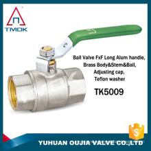 TMOK 1/2'' long handle female and female NPT PN40 forged full bore full port brass ball valve teflon washer with CE