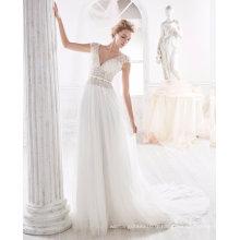 Perles de fleurs une ligne robe de mariée de plage