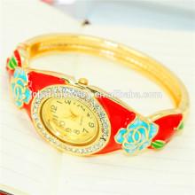 Relógio bonito do bracelete da flor do Rhinestone do vintage da forma para mulheres B080