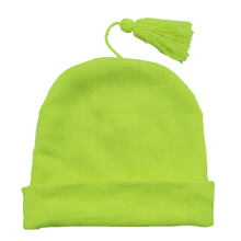 2019 new fashion acrylic custom logo green knitted hat