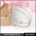 Custom Logo Charm Adjustable Brass Wire Bangle Bracelet