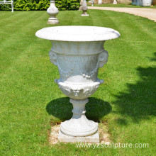 Hand Carved White Marble Flower Pot For Garden