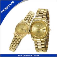 Montre-bracelet de luxe de couple avec l'électrodéposition d'or d'IP