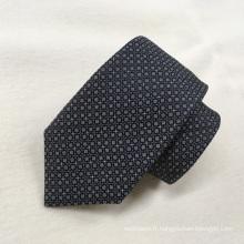 Gros Oem Qualité Noir Polka Neat Fashion Cravates tissées 100% Soie