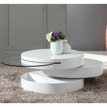 Tier wood White Swivel Coffee Table