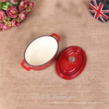 Mini pot ovale en émail en fonte