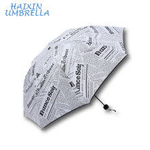 New Promotion Cheap Gift Customized Full Logo Newspaper Print Umbrella Gift Set Factory China