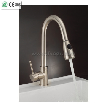 Cupc Standard Nickle Brushed Pull-out Kitchen Sink Water Faucet (QH0759S)