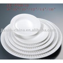 Vajilla de porcelana blanca de forma redonda para restaurante JX-PB016