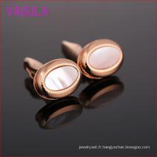 Boutons de manchette de haute qualité plaqués or rose Shell L52306