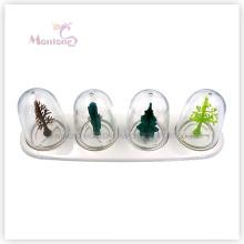 4 Compartment Kitchen Plastic Seasoning Bottle Condiment Holder Spice Jar