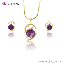 Xuping Wholesale Women Fashionable Gold- Plated Crystal Jewelry Set -61329