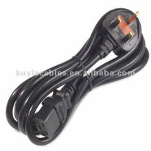 6 Ft Fused AC UK Power Cable Black para computadores, monitores,