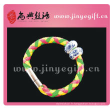 ShangDian Hand Crafted Colorful Tube Leather Wirstband