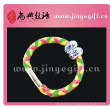 Mão ShangDian trabalhada colorido tubo de couro Wirstband