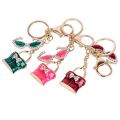Hot Sale Fashion Metal Enamel Bag and glass charms Crystal Key chains gold plated Souvenir for Women and Men