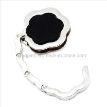 Crochet de sac à main en forme de fleur avec émail noir (Sac-cintre-05)