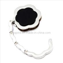 Gancho da bolsa da forma da flor com esmalte preto (hanger-05 do saco)
