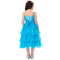 Grace Karin Spaghetti Straps Flower Girl Princess Sky blue Pageant Cake Dress CL010404-2