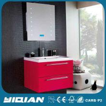Высокий глянцевый китайский блок красный дешевый ПВХ современный шкаф для ванной комнаты