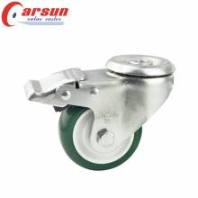 3.5inches среднего заполнения полые заклепки поворотный заклинателя с зеленым Колесо PU