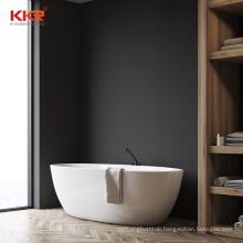 Modern Large Oval Shallow Solid Surface Resin Stone Bathtub Freestanding Bathroom Corner Soaking Bathtub