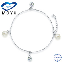 Stock!Wholesale 925 Sterling Silver Pearl Anklet With Charm,in Rhodium Plated,famous design