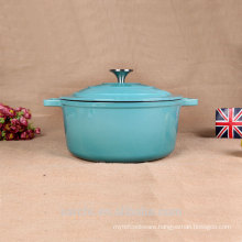 New Customized Round Cast Iron Cassrole Household Cookware Blue