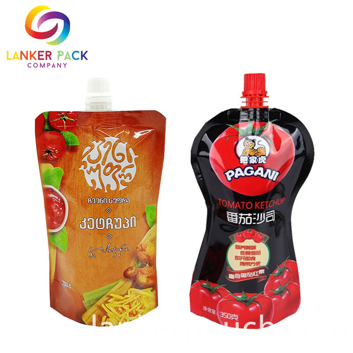 High Barrier Stand Up Spout Pouch Packaging For Sauce And Condiment