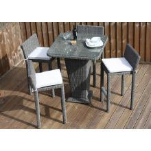Conjunto de rota al aire libre muebles de mimbre jardín Patio Bar taburete