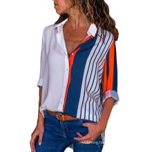 New Fashion Print Women Blouses Plus Size Elegant Work Shirt