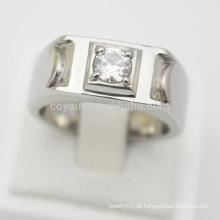 Entwerfen Sie Ihren eigenen silbernen Schmucksache-preiswerten Edelstahl-Mann-Frauen-Verlobungsring-Diamanten