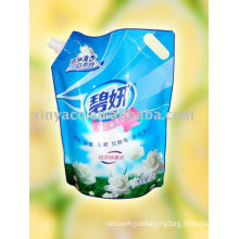 Flexible Packaging And Printed Plastic Spout Pouch With Bottom Gusset For Shower Gel